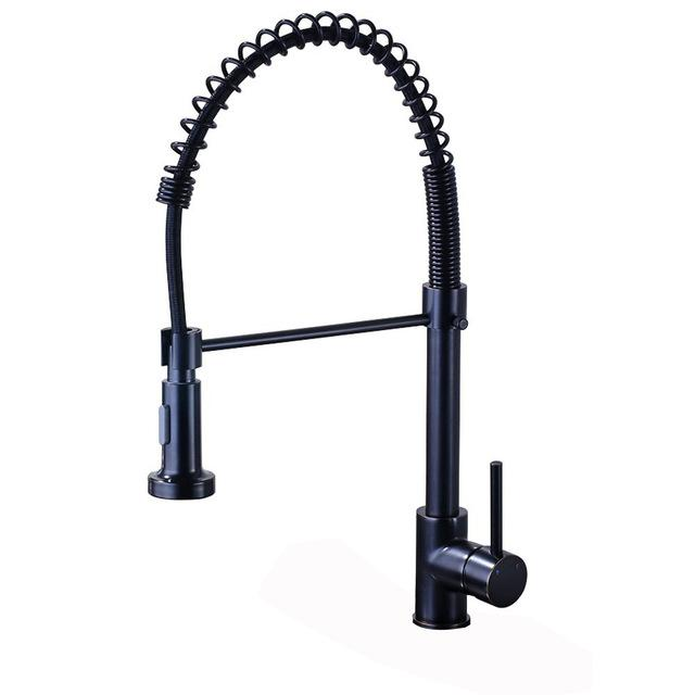 $108.21- Black Bronze Spring Kitchen Faucet Single Handle 2function Water Outlet Pull Down Kitchen Mixers with Hot and Cold Water