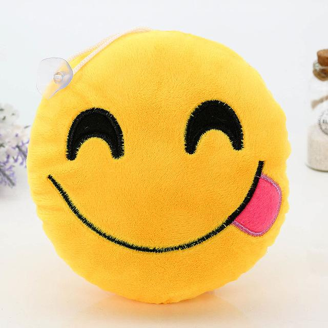 $3.19- 1Pcs Soft Cushions Pillows Qq Facial Emotions Pillow Yellow Round Cushion Stuffed Plush Toy Gift 15*8Cm