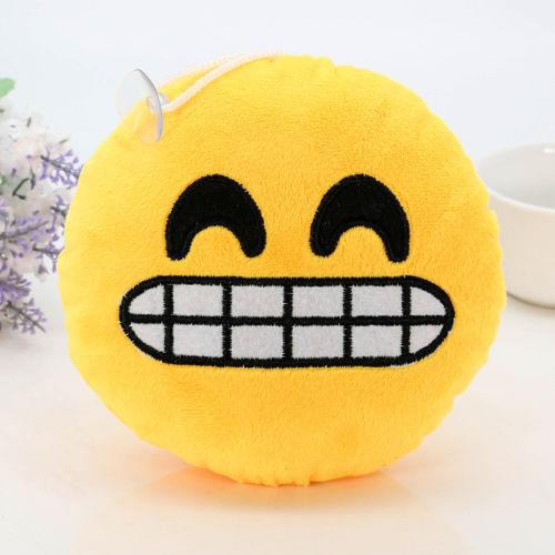 $3.26- 1Pcs Soft Cushions Pillows Qq Facial Emotions Pillow Yellow Round Cushion Stuffed Plush Toy Gift 15*8Cm