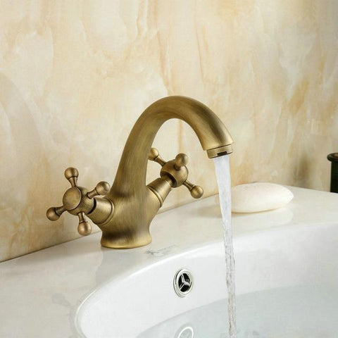 $58.21- Antique Brass Faucets Bathroom Faucet basin Sink mixer tap swan neck 9019A