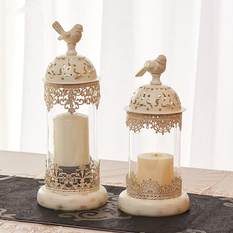 $38.05- Birdcage Iron Candlestick Holder Glass Candle Stand Lantern Europe Moroccan Hollow Candle Stick Stand Home Wedding Decor Gifts