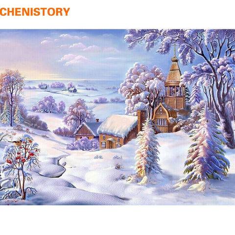 $13.45- Chenistory Frameless Christmas Snow World Diy Painting By Numbers Landscape Acrylic Paint Modern Wall Art Picture For Home Decor