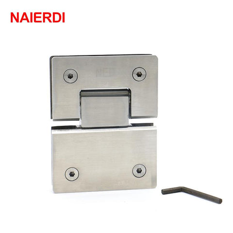 2Pcs Naierdi4904 180 Degree Hinge 304 Stainless Steel Wall Mount Glass Shower Door Hinges For Home Bathroom Furniture Hardware