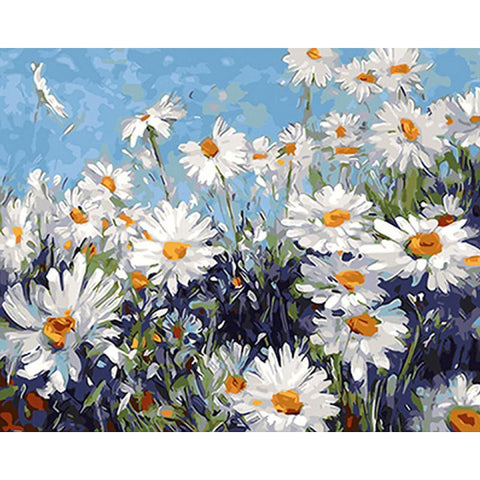 $12.25- Frameless White Flowers Diy Painting By Numbers Modern Wall Art Picture Acrylic Paint Unique Gift For Home Decor 40X50Cm Artwork