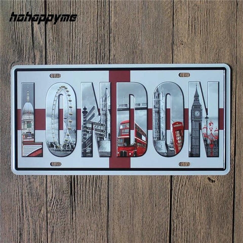 $9.77- Famous City Car American License Plate Vintage Home Decor Tin Sign Shabby Chic Metal Sign Plaque Metal Decorative 15*30 Cm