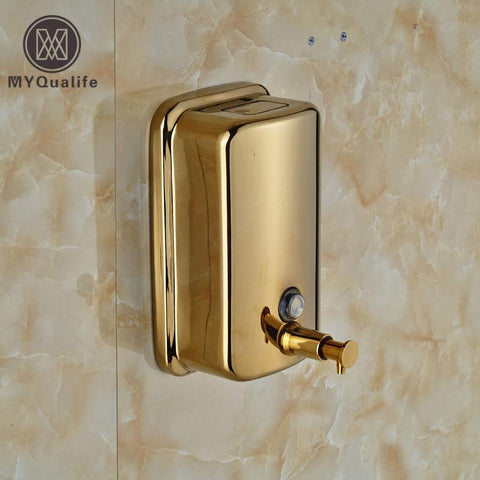 $51.84- Stainless Steel Golden Bathroom Kitchen Soap Dispenser Wall Mounted 800Ml Liquid Shampoo Bottle Soap Box