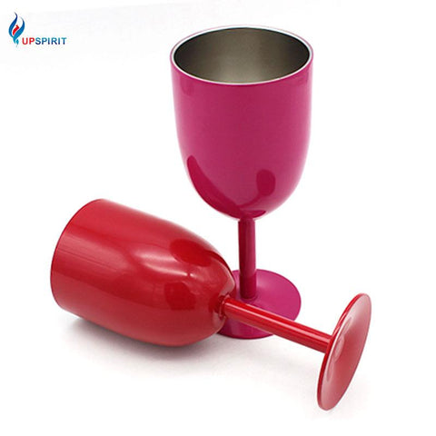 $33.63- Upspirit Stainless Steel Wine Glass Double Wall Drinking Cup Champagne Goblet Barware Outdoor Camping Goblet Mug Party Tools