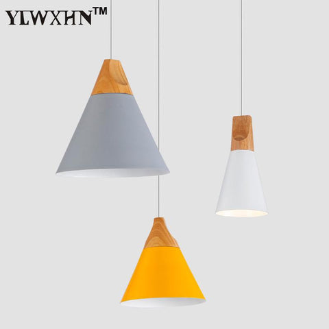 $50.81- Suspension Luminaire Modern Color Hanging Lamps Restaurants Cafes Nordic Pendel Leuchten Solid Wood Lamp Holder Pendant