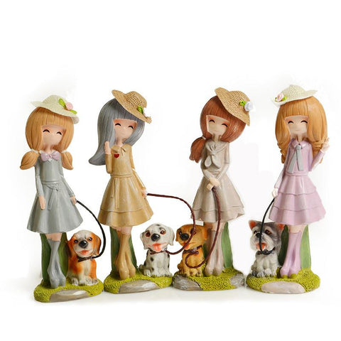 $55.75- Christmas Gifts Cute Girl Figurines Office Decoration Fashion Rural Girl Ornaments Figurines Children Toys New Year Gifts