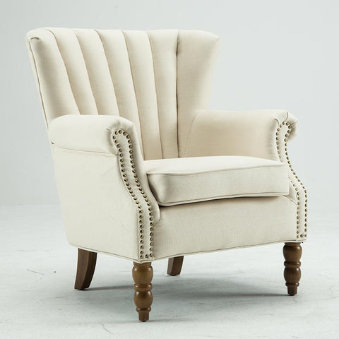 $490.36- Modern Wingback Accent Chair W/ Nail Heads Flared Arm Home Living Room Furniture Single Sofa Armchair Fabric Accent Arm Chair