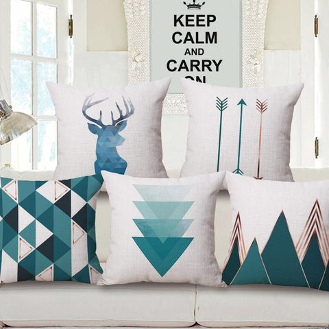 $7.80- Nordic Style Deer Geometric Cushion Covers Mountain Arrows Pillow Cases Linen Cotton Pillow Covers Bedroom Sofa Decoration