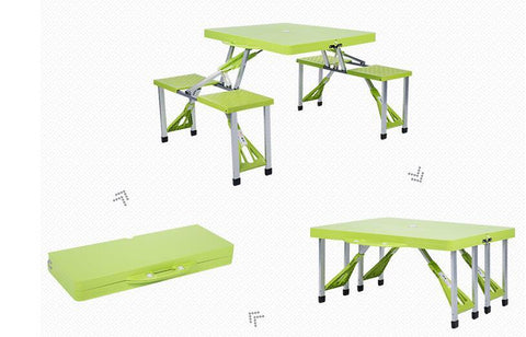 $328.35- Folding Outdoor Tables Portable Camping Table Beach Tables Garden Table W/ Chairs