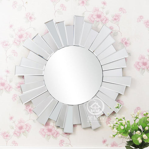 $305.25- Modern Round Wall Mirror Glass Console Mirror Venetian Mirror Wall Decorative Mirrored Art MF2094