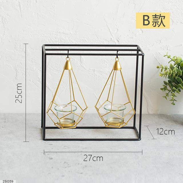 Nordic Glass Candlestick Creative Decorative Iron Candlestick Romantic Candlelight Dinner Props Modern Home Deco Candle Holder