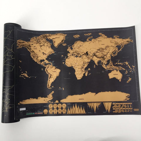 $11.07- 1 Pcs New Arrival Deluxe Scratch Map Personalized World Scratch Map Mini Scratch Off Foil Layer Coating Poster
