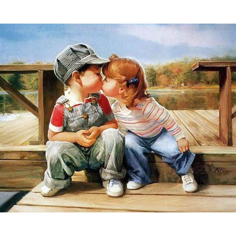 $15.99- Frameless Kissing Diy Painting By Numbers Figure Painting Kits Acrylic Picture Canvas Painting For Unique Gift Wall Art Picture