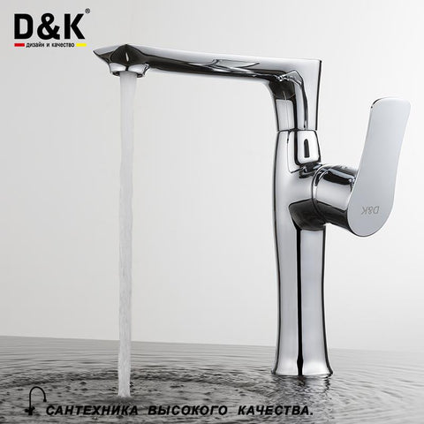 $120.43- D&K Kitchen Faucets Chrome Brass Single Handle 360 Degree Rotation Hot and cold water tap DA1272401
