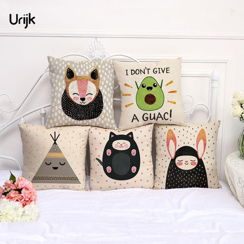 $5.68- Urijk 1Pc Cute Cartoon Cushion Cover Fox Cat Pillow Cover For Children Christams Bedroom Cushion Cojines Decorativos Para Sofa