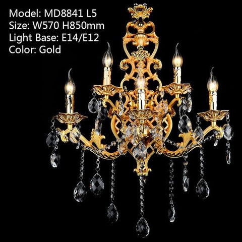 $441.16- Luxury crystal wall sconce light crystal lighting MD8841 gold color Wall Light Fixture For Living room Bedroom Hallway Hotel