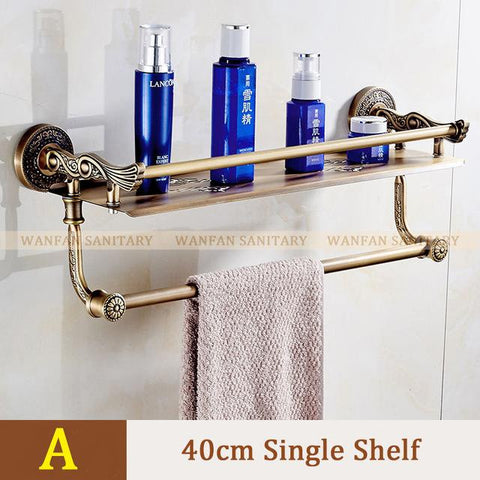 Bathroom Shelves 2 Layers Towel Rack Shower Storage Basket Bath Wall Shelf Brass Bathroom Accessories Towel Bar Hangers Sl7842
