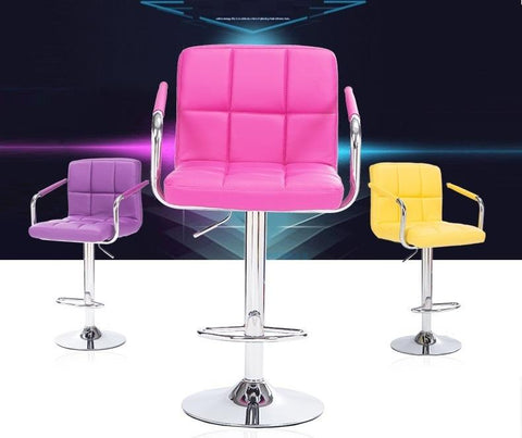 $328.15- Bar Stool Computer Rotation Chair Pink Purple Pu Leather Linen Seat For Seletion