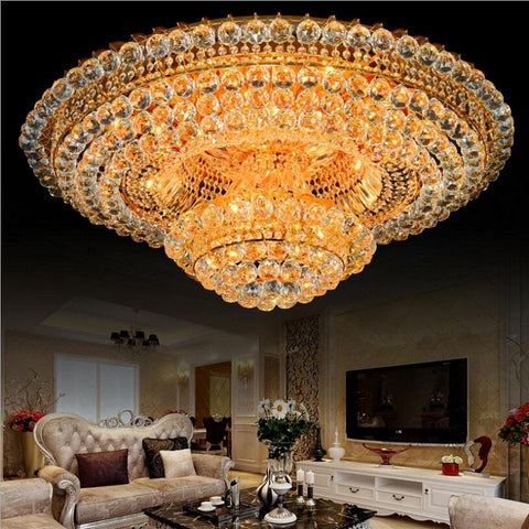 Luxury Crystal Chandelier Lighting For Living Room Ceiling Modern Led Gold Crystal Chandelier Remote Control RGB Lustre Cristal