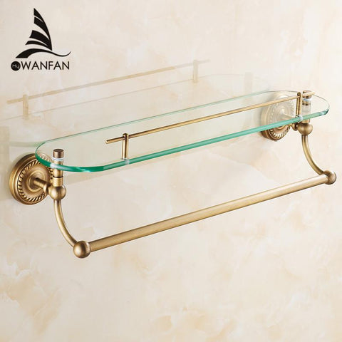 $118.32- Bathroom Shelves Single Tempered Glass Antique Brass Towel Bar Cosmetic Racks Hanger Storage Home Deco Bath Wall Shelf Hj1313
