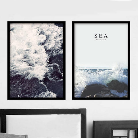 $10.62- New Sea Spray Landscape Nordic Canvas Painting Wall Art Posters Prints Pictures For Kids Children Living Room Home Office Decor