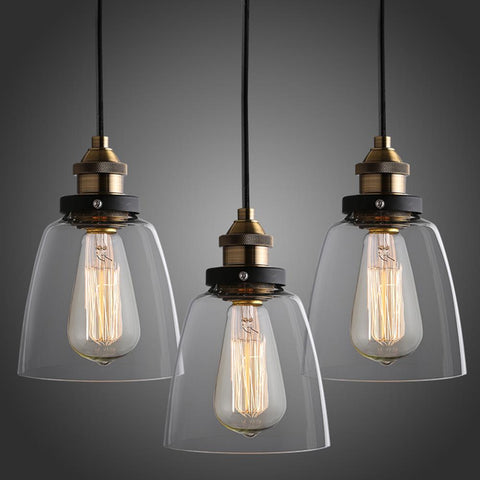 $20.39- Russia Industrial Pendant Light Dining Living Room Vintage Glass Lighting Nordic Retro Hanging Lamp For Home Bar Christmas Decor