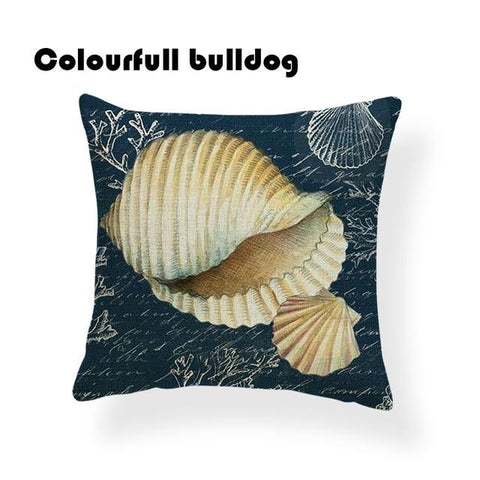 $6.82- Coastal Printed Throw Pillow Covers Watercolor painting Style Hippocampus Lobster Starfish Seaweed The Pacific Ocean Cushions