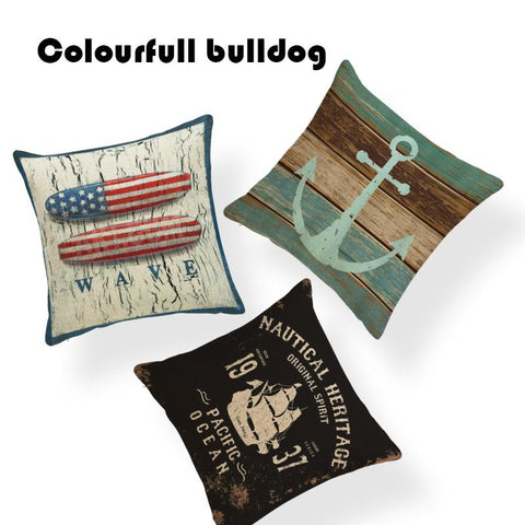 $6.84- New Shabby Chic Wood Retro Anchor Toss Pillow Compass Lobster Crab Living Room 18W/out Inner Home Linen Almofada Cushion Cover
