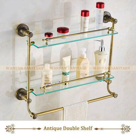 $126.24- Bathroom Shelves Tempered Glass Shower Shelf Single Bar Antique Brass Bathroom Accessories Shampoo Storage Wall Shelf Sl7838