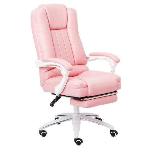 $377.85- Executive Pu Leather Computer Chair With Pullout Footrest Adjustable Lumbar Padded Armrest Home Office Chair Furniture