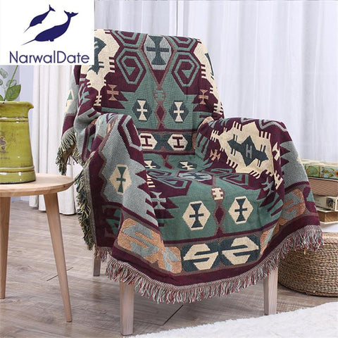 $33.93- Bohemian Blanket Sofa Decorative Slipcover Throws on Sofa/Bed/Plane Travel Rectangular Color Stitching Blankets