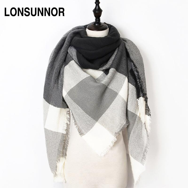 $10.19- New Fashion Winter Scarf For Women Scarf Luxury Brand Triangle Plaid Warm Cashmere Scarves Blanket Shawls 140*140*210CM