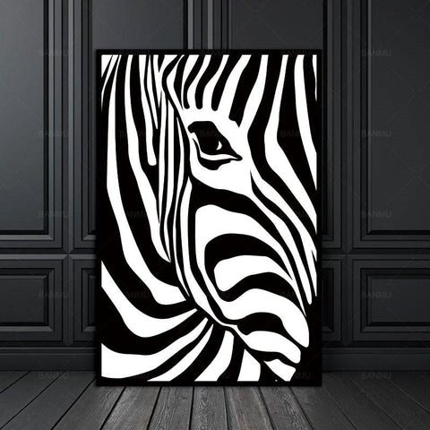 $5.19- Canvas Painting Prints No Frame Scandinavian Zebra Stripes Nordic Abstract Wall Pictures For Living Room Art Decoration Picture