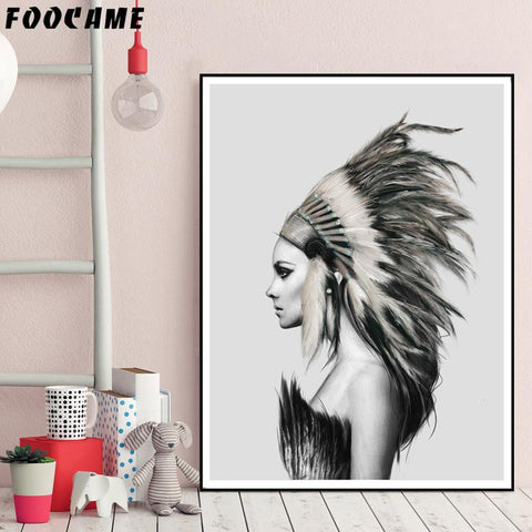 $7.96- Foocame Indians Women Feather Abstract Nordic Posters Prints Art Canvas Painting Home Decor Wall Pictures For Living Room