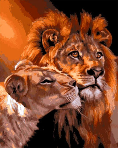 $13.03- Frameless The Lion Animal Diy Painting By Numbers Kits Coloring Oil Painting On Canvas Drawing Home Artwork Wall Art Picture