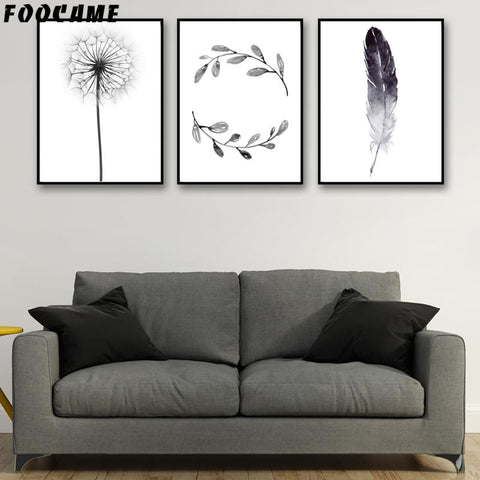 $7.96- Foocame Dandelion Feather Leaves Nordic Posters Prints Art Canvas Painting Modern Home Decor Wall Pictures For Living Room