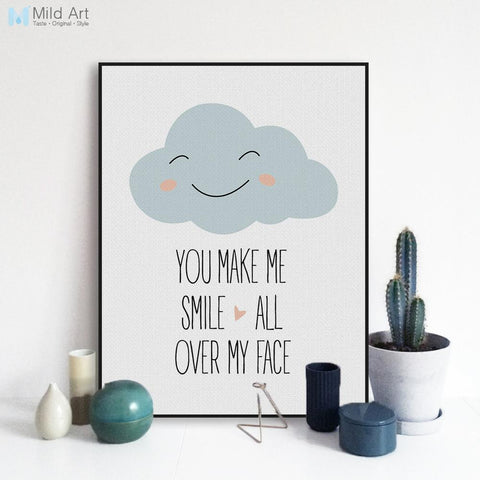 $7.32- Modern Motivational Love Quotes A4 Art Print Poster Smile Wall Picture Nordic Cute Baby Kids Room Decor Canvas Painting No Frame