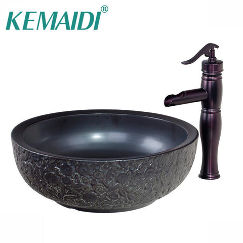 $308.91- KEMAIDI Black Ceramic BowlSinkWash Oil Rubbed Bronze Faucet W/ Round Ceramic Bathroom Sink Set 460597019