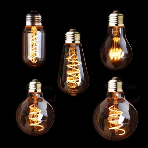 $12.49- T45 A19 St64 G80 G95 G125Spiral Light Led Filament Bulb3W 2200KRetro Vintage LampsDecorative LightingDimmable