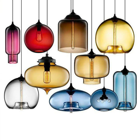 $88.38- Modern Loft Style Glass Pendant Lights Fixtures Hanglamp Hanging Retro Nordic Design Lamp For Decor Home Lighting Kitchen Bar