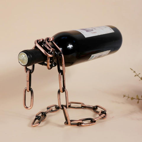 $12.27- High Quality Creative Craft Chain Wine Rack Magic 3D Suspended Wine Racks Home Kitchen Bar Accessories Practical Wine Holder
