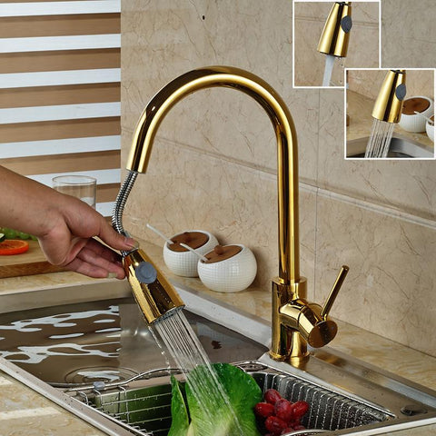 $65.78- Luxury Golden Handheld Pull Out Kitchen Faucet Deck Mounted 360 Swivel Kitchen Mixer Hot and Cold Taps Stream Sprayer Nozzle