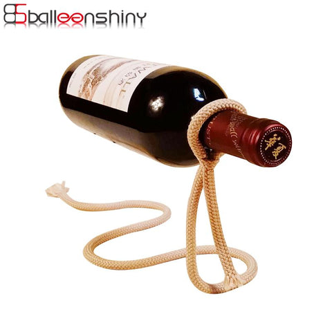 $12.52- Balleenshiny Magic Rope Wine Bottle Stand Rack Suspension Novelty Holder Barware Gift Bar Accessories Table Decoration Tableware