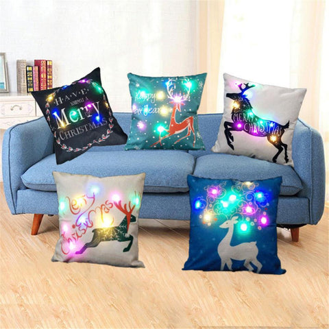 $7.39- Coloured Lanterns Christmas Pillow Led Lights Luminescent Lamp Back Cushion Pillowcase Innovative Printing Linen Pillowcase