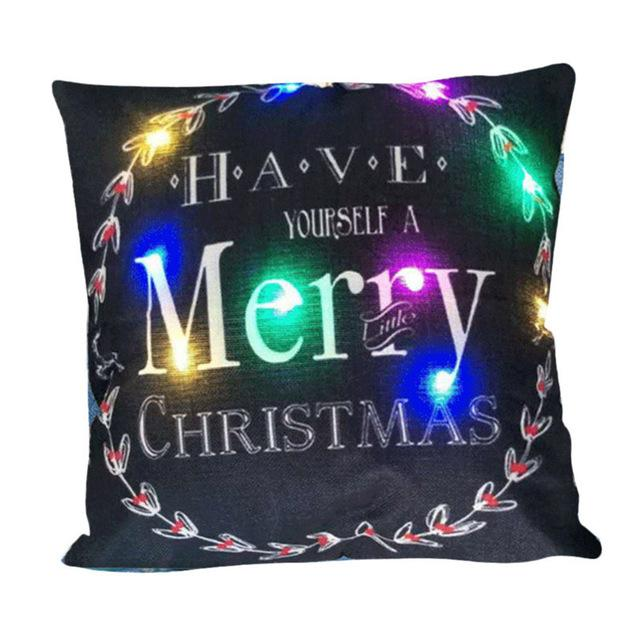 Coloured Lanterns Christmas Pillow Led Lights Luminescent Lamp Back Cushion Pillowcase Innovative Printing Linen Pillowcase