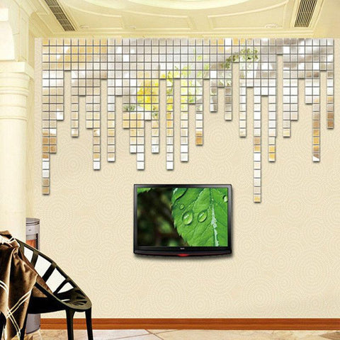 100pcs 2x2cm Bling Bling Acrylic 3D Wall Sticker Mosaic Mirror Effect Child's room Wall Decoration DIY Home Decor