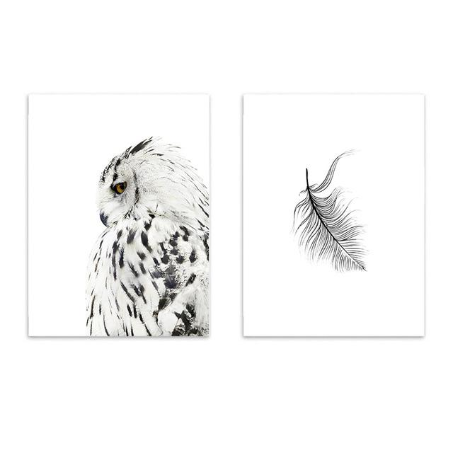 $25.44- 900D Posters Prints Wall Art Canvas Painting Wall Pictures For Living Room Nordic Owl Decoration Nor026